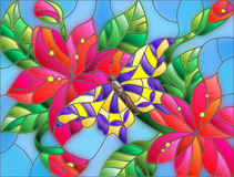 Stained glass illustration with abstract red flowers and butterfly Stock Photos