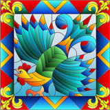 Stained glass illustration with abstract rooster in a bright frame Stock Photo