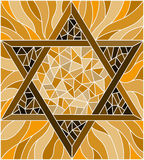 Stained glass illustration with an abstract six-pointed  star , brown tone, sepia Stock Photography
