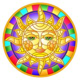 Stained glass illustration with abstract sun in bright frame,round image Stock Photos