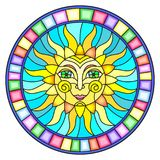 Stained glass illustration with abstract sun in bright frame,round image Stock Photography