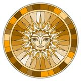 Stained glass illustration  with abstract sun in frame,round image,brown tone Royalty Free Stock Photo