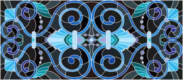 Stained glass illustration  with abstract  swirls,flowers and leaves  on a black background,horizontal orientation Stock Image
