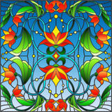 Stained glass illustration with abstract swirls,flowers and leaves on a blue background. Illustration in stained glass style with abstract swirls,flowers and vector illustration