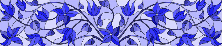 Stained glass illustration with abstract swirls,flowers and leaves on a light background,horizontal orientation,gamma blue. Illustration in stained glass style vector illustration