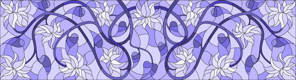 Stained glass illustration with abstract swirls,flowers and leaves on a light background,horizontal orientation,gamma blue. Illustration in stained glass style royalty free illustration