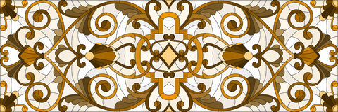 Stained glass illustration with abstract  swirls ,flowers and leaves  on a light background,horizontal orientation, sepia Stock Photos