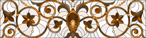 Stained glass illustration  with abstract  swirls ,flowers and leaves  on a light background,horizontal orientation, sepia Stock Image