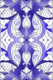 Stained glass illustration with abstract swirls,flowers and leaves on a light background,vertical orientation gamma blue. Illustration in stained glass style Royalty Free Illustration
