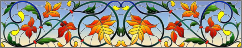 Stained glass illustration with abstract  swirls,flowers and leaves  on a sky background,horizontal orientation. Illustration in stained glass style with Royalty Free Stock Image