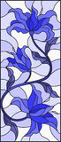 Stained glass illustration with abstract swirls,flowers and leaves. Illustration in stained glass style with abstract swirls,flowers and leaves on a light stock illustration