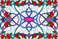 Stained glass illustration with abstract  swirls,flowers of roses and leaves  on a light background,horizontal orientation Stock Photo