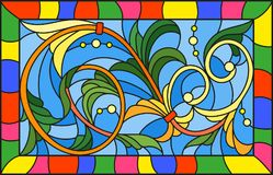Stained glass illustration  with abstract  swirls and leaves  on a blue background,horizontal orientation Royalty Free Stock Photos