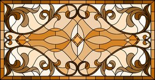 Stained glass illustration  with abstract  swirls and leaves  on a light background,horizontal orientation, sepia Stock Images