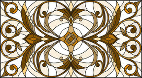Stained glass illustration with abstract  swirls and leaves  on a light background,horizontal orientation, sepia. Illustration in stained glass style with Stock Photo