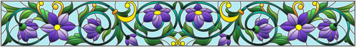 Stained glass illustration  with abstract  swirls,purple flowers and leaves orientation. Illustration in stained glass style with abstract  swirls,purple flowers Stock Photo