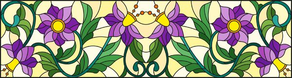 Stained glass illustration  with abstract  swirls,purple flowers and leaves  on a yellow  background,horizontal orientation. Illustration in stained glass style Royalty Free Stock Image