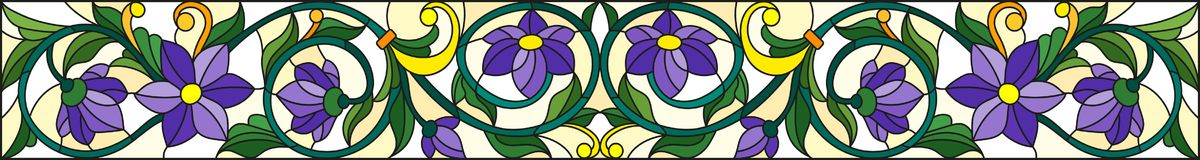 Stained glass illustration  with abstract  swirls,purple flowers and leaves  on a yellow  background,horizontal orientation Royalty Free Stock Photos