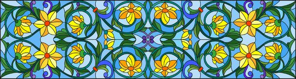 Stained glass illustration  with abstract  swirls,yellow flowers and leaves  on a blue background,horizontal orientation. Illustration in stained glass style Royalty Free Stock Image