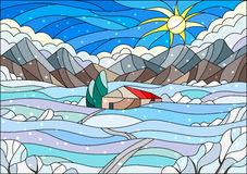 Stained glass illustration with abstract winter landscape,a lonely house amid fields, mountains , sky and falling snow. Illustration in stained glass style with Stock Photography