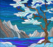 Stained glass illustration with abstract winter landscape,the tree on the background of water, mountains and sky Royalty Free Stock Photography
