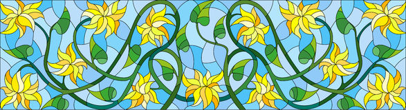 Stained glass illustration with abstract yellow flowers on a blue  background,horizontal orientation Royalty Free Stock Photography