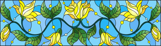 Stained glass illustration  with abstract yellow flowers on a blue background Royalty Free Stock Photos
