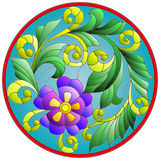 Stained glass illustration  with abstraction flowers and leaves  round frame Royalty Free Stock Photography