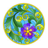 Stained glass illustration with abstraction flowers and leaves  round frame Stock Photos
