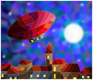 Stained glass illustration of an airship on the background of night sky and city. Illustration in stained glass style airship over a city at night amid the stars Stock Photography