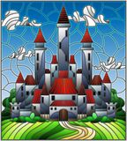 Stained glass illustration  with the ancient castle on the background of the cloudy day sky Royalty Free Stock Images