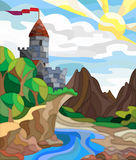 Stained glass illustration with an ancient castle, summer landscape Stock Image