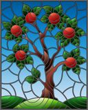 Stained glass illustration  with an  apple tree standing alone on a hill against the sky Royalty Free Stock Photo
