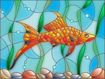 Stained glass illustration of aquarium fish on the background of the water and algae. Illustration in stained glass style with swordtail fish on the background Stock Photo