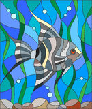 Stained glass illustration of aquarium fish by scalars. Illustration in stained glass style fish scalar on the background of water and algae Royalty Free Stock Photo