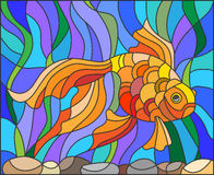 Stained glass illustration of aquarium goldfish. Illustration in stained glass style with gold fish on the background of water and algae Stock Images