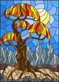 Stained glass illustration  with autumn abstract tree on the background of sky, sun and mountains Stock Photos