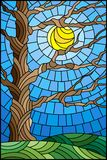 Stained glass illustration  with autumn bare tree on sky background and sun Royalty Free Stock Photo