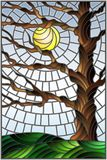 Stained glass illustration  with autumn bare tree on sky background and sun Stock Photos