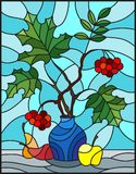 Stained glass illustration  with autumn still life, branches of mountain ash and maple in blue  vase and fruit on a blue backgroun. Illustration in stained glass Stock Image