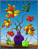 Stained glass illustration  with autumn still life, branches of mountain ash and maple in purple vase and fruit on a blue backgrou Stock Photos