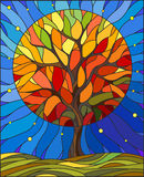 Stained glass illustration with autumn tree on sky background with the stars. Illustration in stained glass style with autumn tree on sky background with the vector illustration