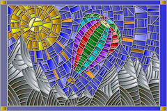 Stained glass illustration of a balloon on a background of mountains and sun Stock Photos
