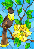 Stained glass illustration with a beautiful  bird sitting on a branch of a blossoming tree on a background of leaves and sky. Illustration in the style of Stock Photography