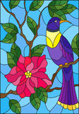 Stained glass illustration with a beautiful blue bird sitting on a branch of a blossoming tree on a background of leaves and sky. Illustration in the style of vector illustration