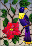 Stained glass illustration with a beautiful blue bird sitting on a branch of a blossoming tree on a background of leaves and sky. Illustration in the style of stock illustration