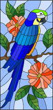 Stained glass illustration with a beautiful blue parakeet sitting on a branch of a blossoming tree on a background of leaves and. Illustration in the style of Royalty Free Illustration