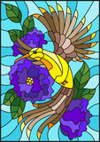 Stained glass illustration  with a beautiful bright  bird and the branch of the flowering plant on a sky background Royalty Free Stock Photos