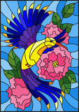 Stained glass illustration  with a beautiful bright blue bird and the branch of the flowering plant on a blue background Stock Photos