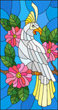 Stained glass illustration with a beautiful parakeet sitting on a branch of a blossoming tree on a background of leaves and sky. Illustration in the style of royalty free illustration
